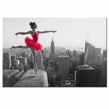Women Canvas Painting Print,Ballet Dancer Dancing Empire State Building Wall Art,Girl in Red Dress Wall Picture