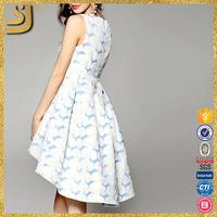 Fashion blue and white summer european style party casual women dress
