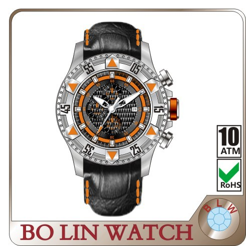 mens watch/solid 316L stainless steel/japan movement/steeled glass/5 atm/big, luxury sport watches