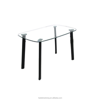 New Design Glass Top and Iron Pipe Legs Long Narrow Dining Table