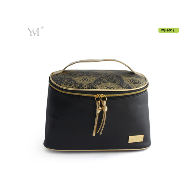 Personalized luxury vintage good quality with ISO9001 certification cosmetic black gold makeup travel bag organizer