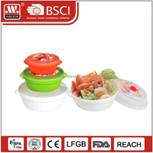 3 PCS Microwavable commercial food round packaging storage container