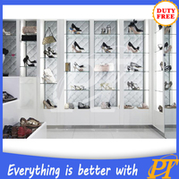 High quality wooden shoe display cabinet for shoes store decoration