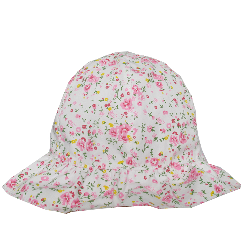 Floral Print Little Flower And Grass Baby Children Cute Summer Bucket Hats With String