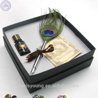 Excellent grade feather quill pen, Fancy feather dip pen as wedding