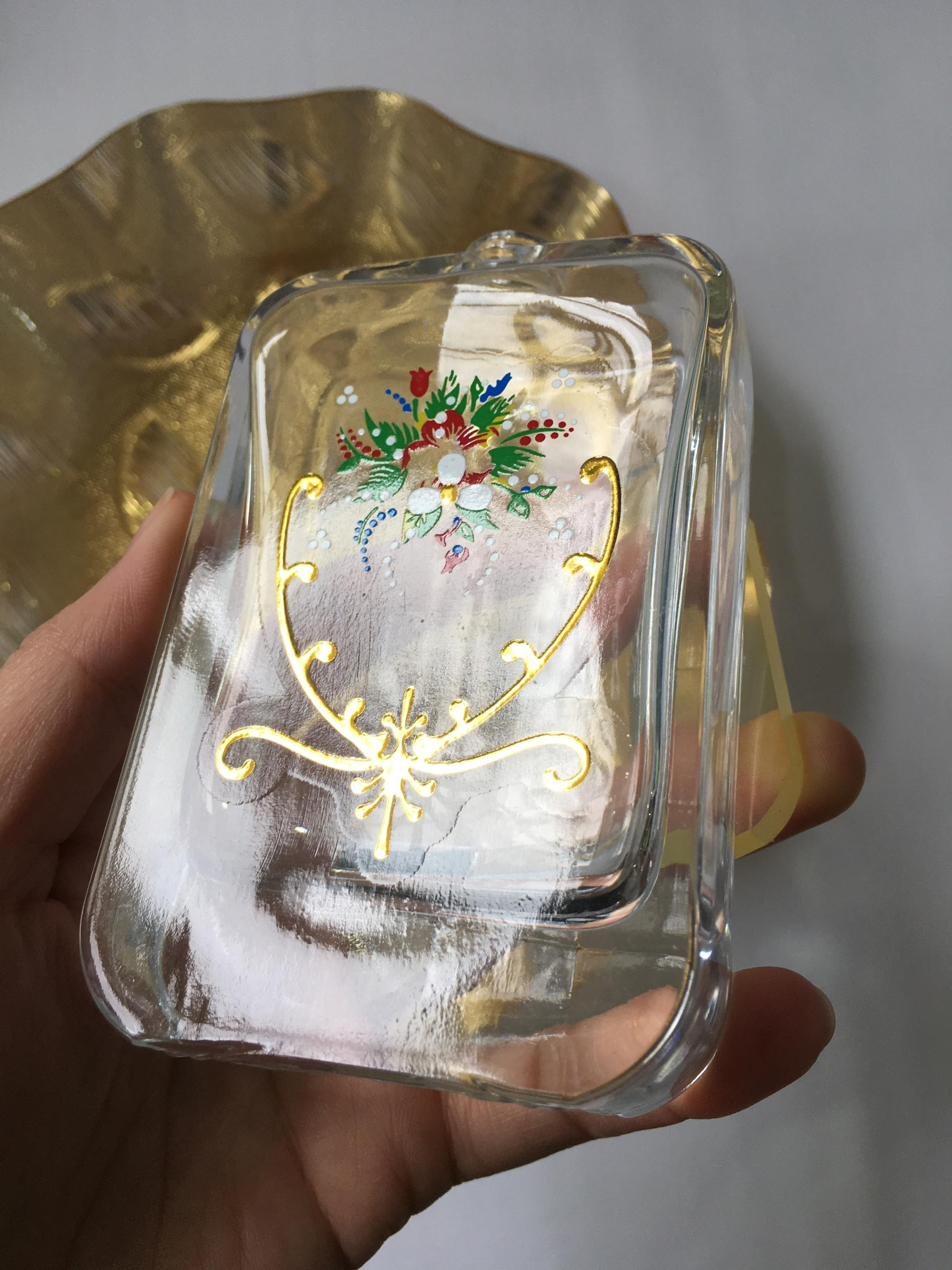 perfume bottle Gold foil stamping water transfer decal papers for glass OEM printing services