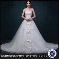 MGOO High Quality Big Bow Wedding Dress Strapless Beaded Empire Ball Gown Elegant Muslim Wedding Dress 2053