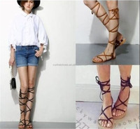2016 brand new designer Faux Leather Strappy Roman Goth Gladiator Thong Lace Up Bandage Sandals knee high boots Flat Shoes