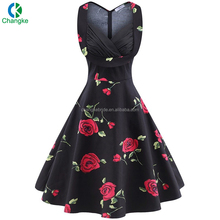 China Supplier Latest Custom Made Short Printed Vintage Evening Dress Made In China