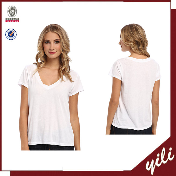 women's white t shirt short sleeves low v neck tee shirts