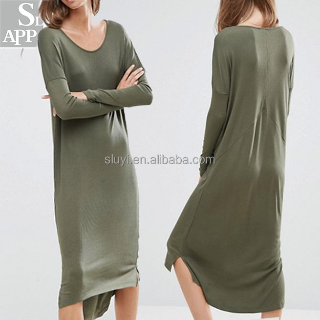Plus size clothing oversize smooth rib t shirt dress women long sleeve casual dresses bali clothing wholesale clothes women wear