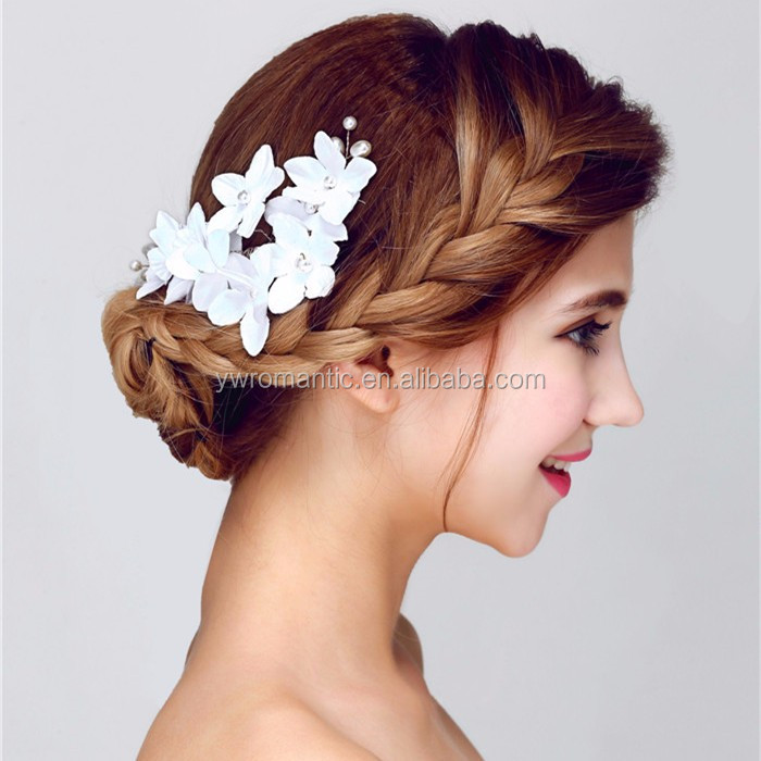 Women accessories bridal hair combs with white flower and pearl wholesale