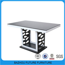 wooden glass top black mirror dining table