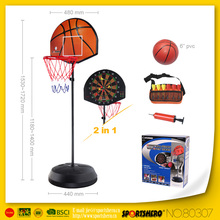 Patent High Quality 2 In 1 Adjustable Stand Basketball And Magnetic Darts Target For Kids