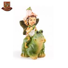 Factory custom made small resin fairy garden figurines mini fairy on frog