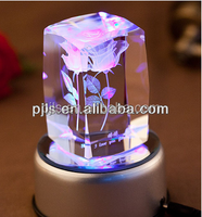 fashion crystal 3D laser with led base, crystal cube