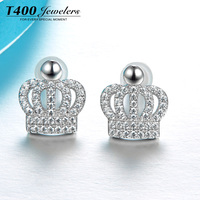 T400 jewelry S925 sterling silver crown shape stud earring with zircon 2016 new design for wedding gift
