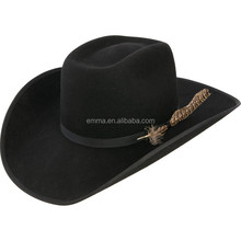 Design your own Cheap black felt Western Cowboy Hat with gery badge HT 8238