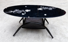 High quality oval glass top coffee table/tea table/dining table