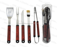 High Quality Sturdy Stainless Steel Ergonomic Design 5pcs Barbecue Grilling Tool Set