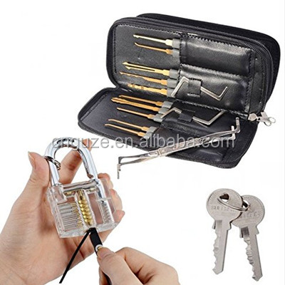 CNGUZE practice lock pick set transparent padlock +GOSO 24 piece lock picks with leather case