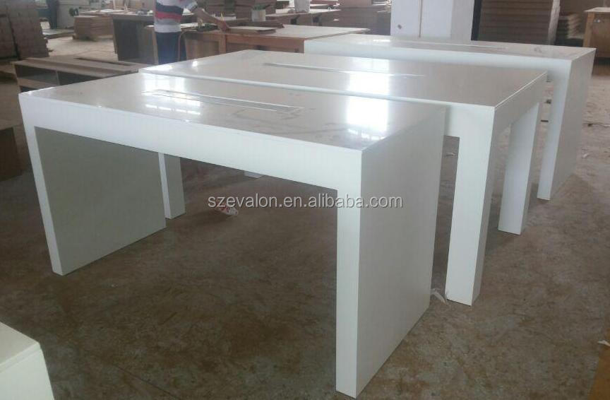 solid surface white high gloss dining table / bar counter