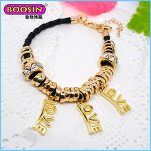 Best gift for boy and girl friendship, 3 Love alphabets charm in bracelet, leather knit inside fashion fake gold bangle