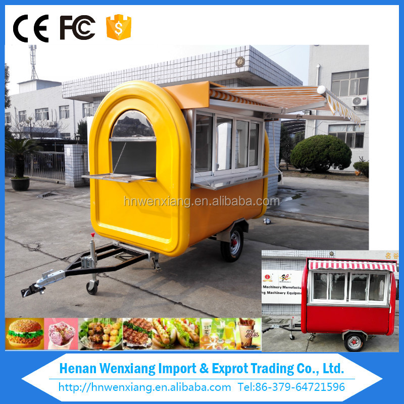 china 2016 Best sale hot mobile food kiosk trucks,ice cream cart , food cart trailer