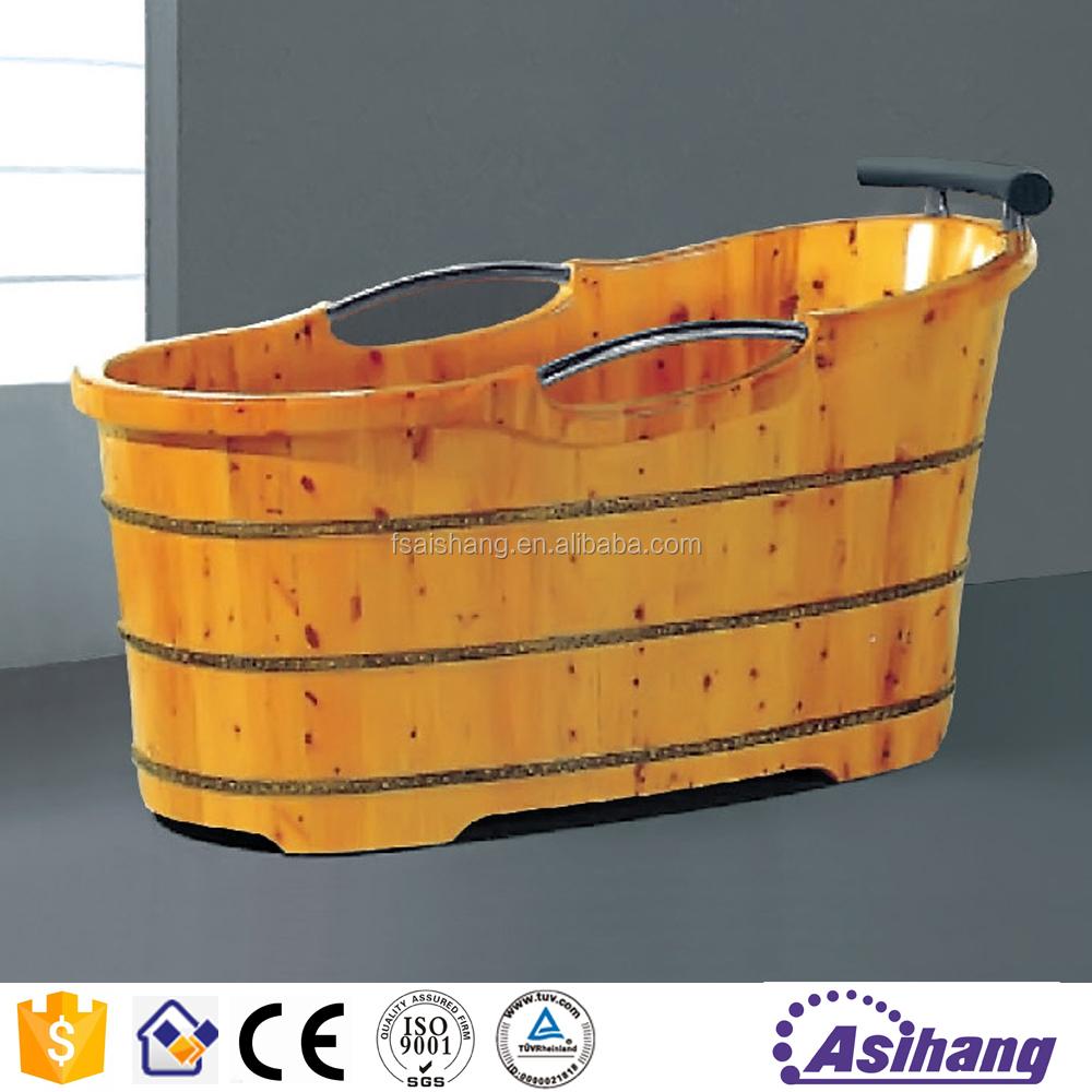 AS33106 Outdoor Portable Sauna Wooden Bathtub With Handle