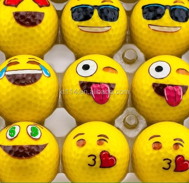 Emoji Faces Official Novelty Fun two Layer Range Golf Ball