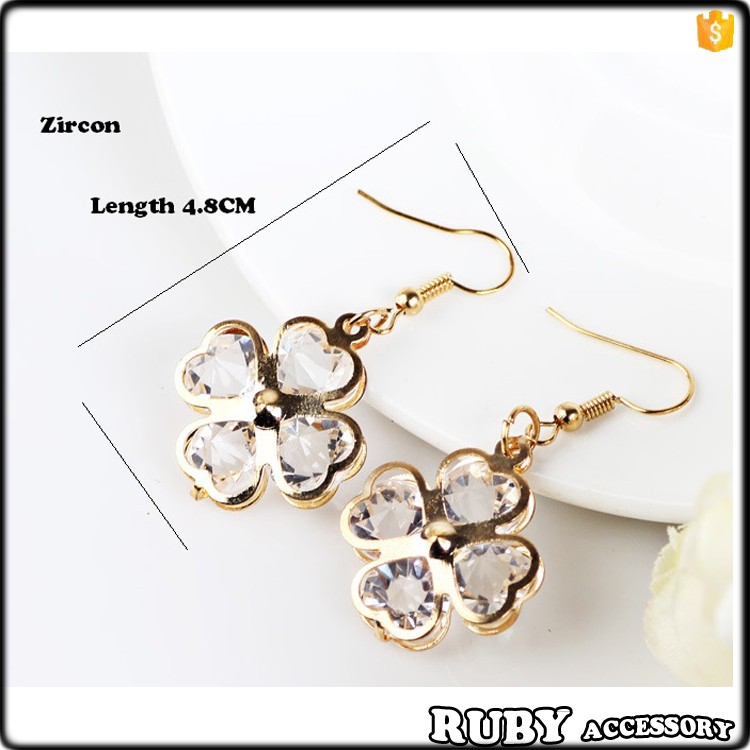 Hot-sale gold flower crystal rhinestone diamond fashion earring designs new model earring designs for women party ER0123