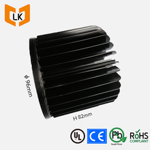CNC Machining Black Anodized 1000 Series Aluminum Led Bulb Light Heat Sink Enclosure With 96mm Diameter