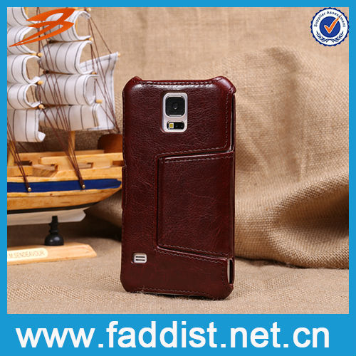 Crazy Horse grain leather flip case for samsung galaxy s5 case with card slots
