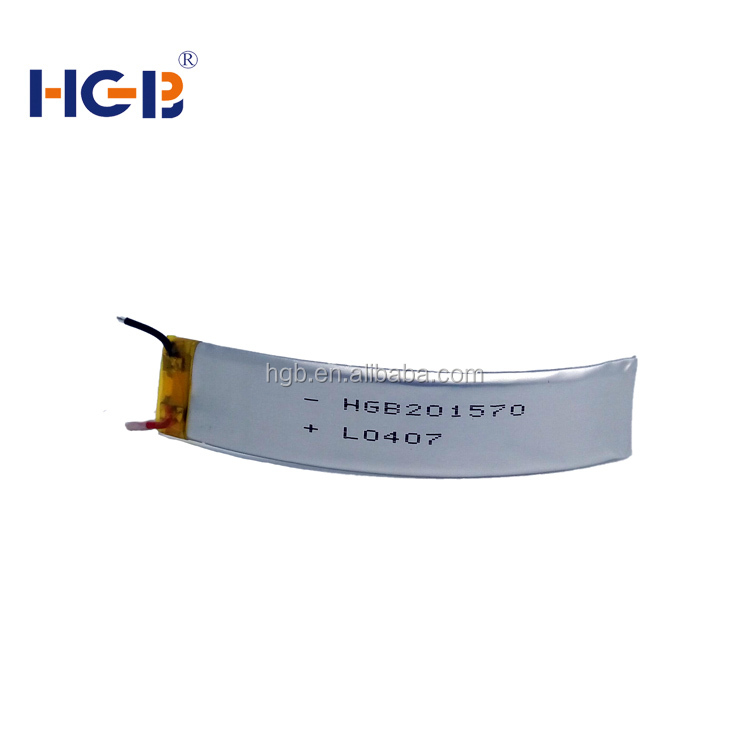 flexibale HGB201570 3.7V 140mAh 3C rechargeable lithium polymer curved <strong>battery</strong>