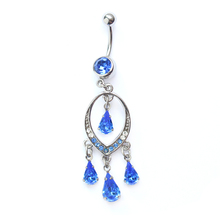 Unique blue gems body art jewelry navel belly ring rings india
