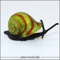 murano snail figurine art glass sculpture peridot animal with red silk silver foil tableware display fish tank decoration