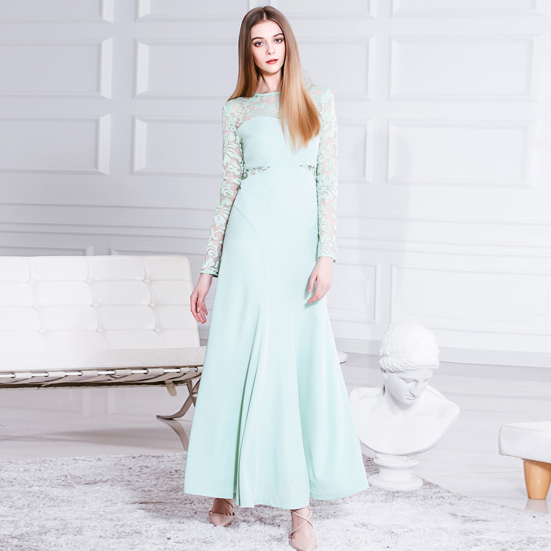 Kongshion latest mint color chiffon fit and flare see through lace long sleeve fairy dresses best dress for farewell party 6252