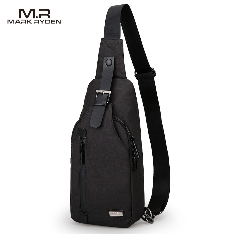Factory Price Mark Ryden Waterproof USB Charging Bag Mens Sling Sports Chest Bag with Earphone Hole Crossbody bag MR5879