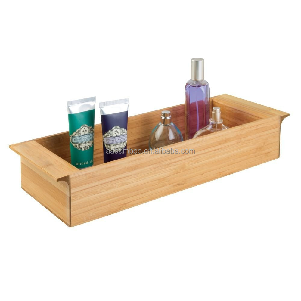 Natural Bamboo Toilet Tank Storage Tray for Tissues Candles Soap