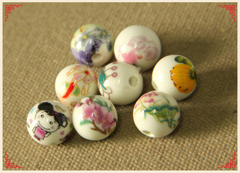 Hand Printed Round Porcelain Ceramic Flower Print Beads 12mm