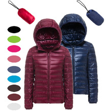 Custom high quality stand collar ultralight foldable 90% duck down women jacket