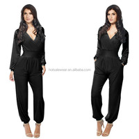 2015 Autumn Brand New Women Sexy V-neck Long Sleeve Jumpsuit Black White Blue Red Lady Curve Clothing Plus Size PW-MK006