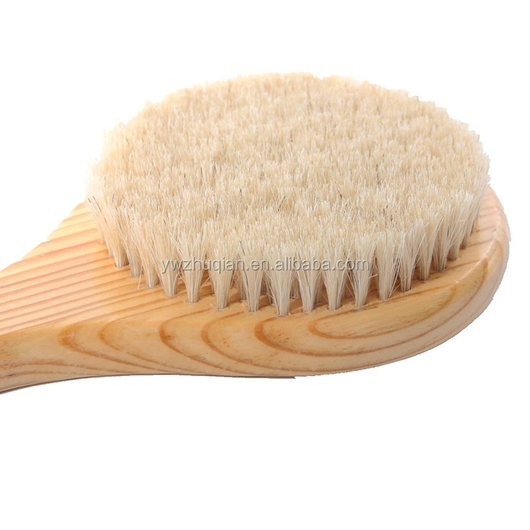High quality natural horsehair wooden bath brush removable Body Brush body brush