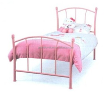 Simple metal single bed with wooden slats for children