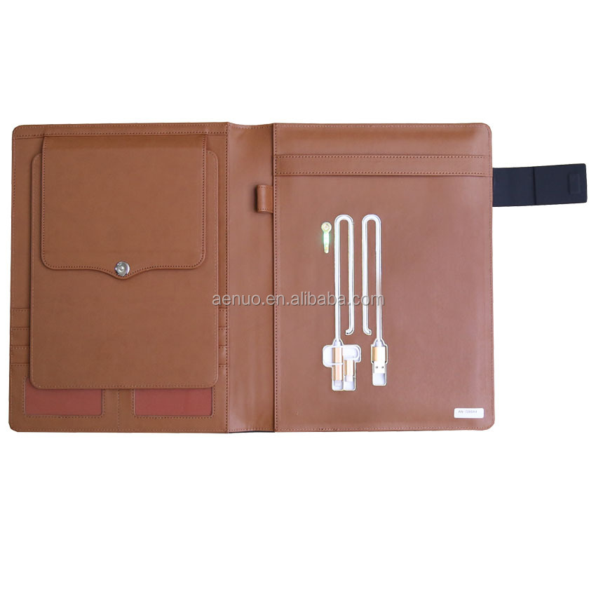High quality A4 USB file portfolio powerbank file holder for ipad case