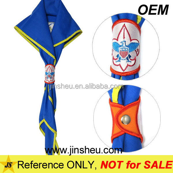 Cheap Customized Boy Scout Scarf Neckerchief Embroidered Woggles