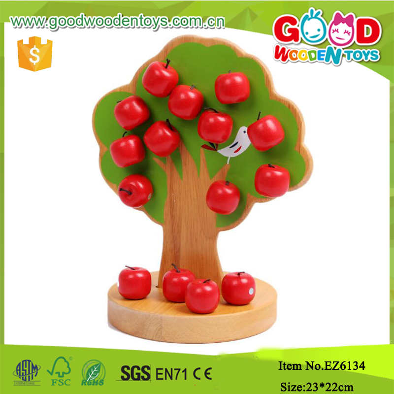 Christmas Magnetic Apple Block Educational Wooden Christmas Toys Tree