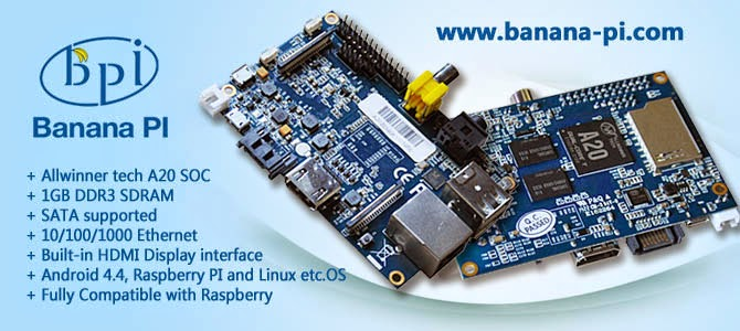 Banana Pi Dual core Raspberry Pi-like devepment board with Gigabit ethernet port, SATA port