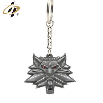 Custom shaped 3D antique silver metal emboss wolf logo keychains