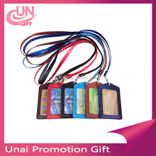 Hot-selling Vertical PU leather id badge card holder with high quanlity Korea lanyard
